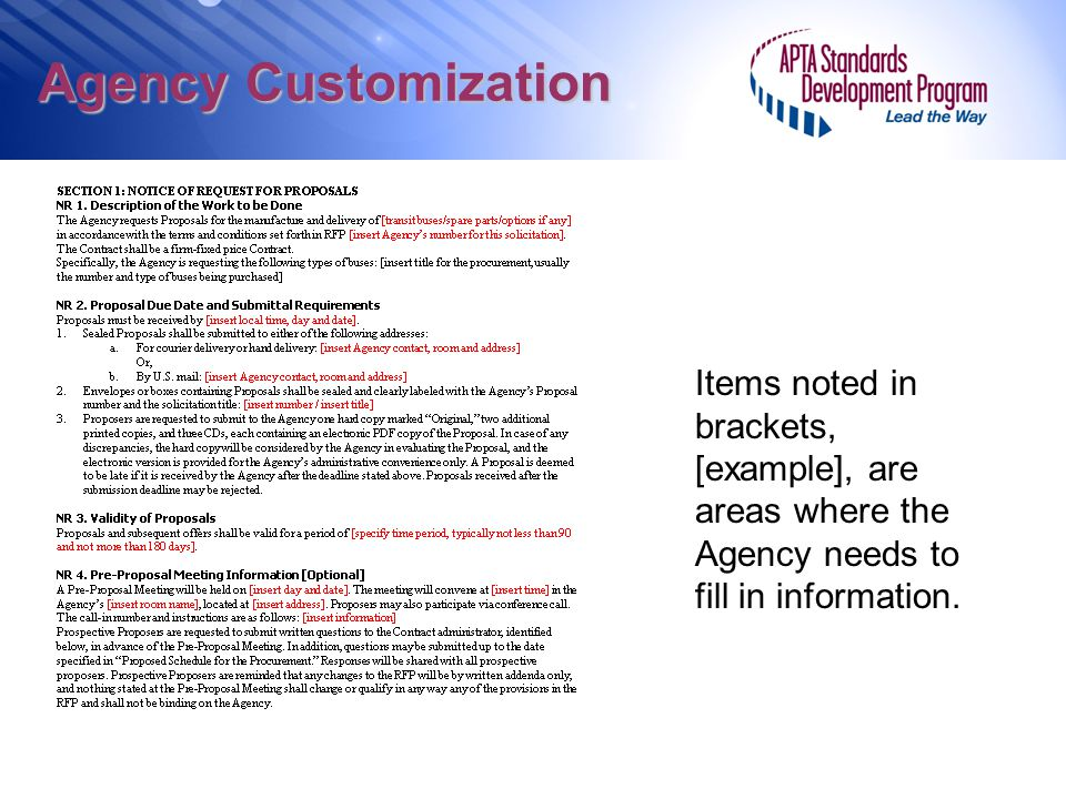 Agency Customization Items noted in brackets, [example], are areas where the Agency needs to fill in information.